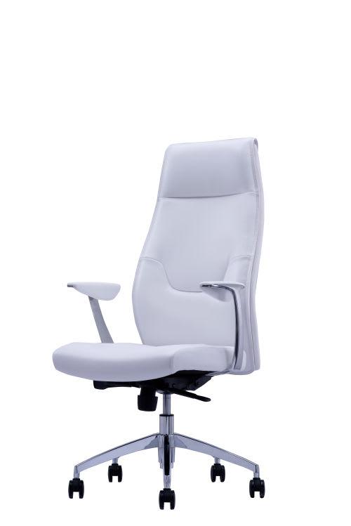 Sedia da ufficio regolabile con ruote bianca