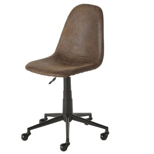 Sedie Da Ufficio Marrone.Sedia Da Ufficio Regolabile Con Ruote In Similpelle Scamosciata Marrone