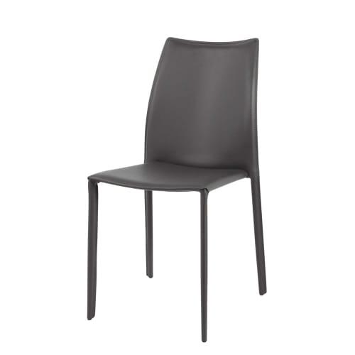 Sedia grigia in cuoio rigenerato