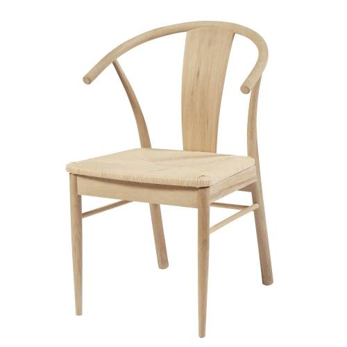 Sedia in corda in carta intrecciata e legno massello di quercia | Maisons  du Monde