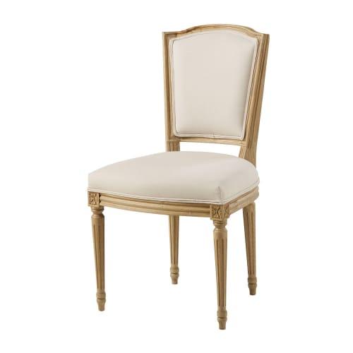 Sedia in cotone beige e legno massello di quercia