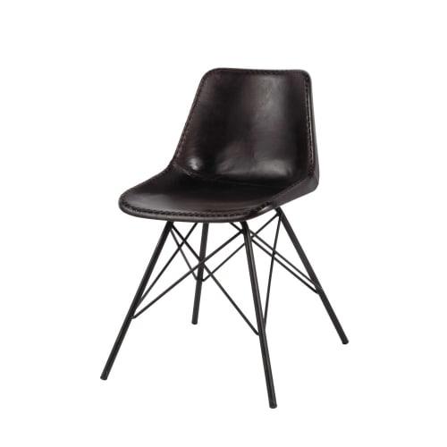 Sedie Metallo E Cuoio.Sedia Nera Stile Industriale In Cuoio E Metallo Austerlitz