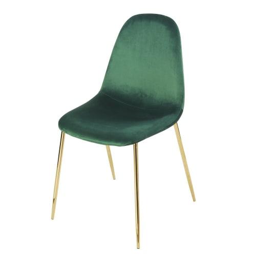 Sedia stile scandinavo in velluto verde | Maisons du Monde