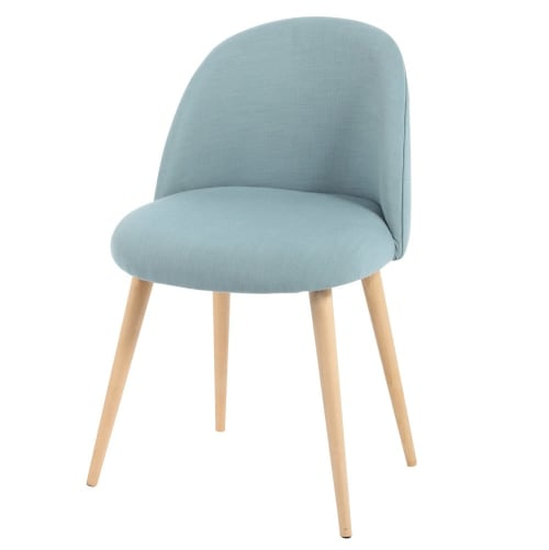 Sedia vintage blu e legno massello di betulla | Maisons du Monde