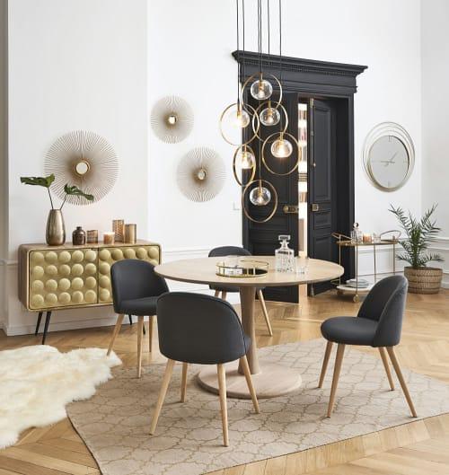 Sedia vintage grigio antracite e legno massello di betulla   Maisons du Monde
