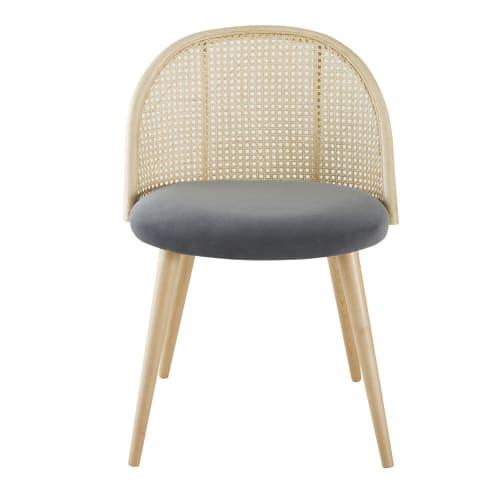 Sedia vintage grigio antracite intreccio in rattan e legno massello di betulla | Maisons du Monde
