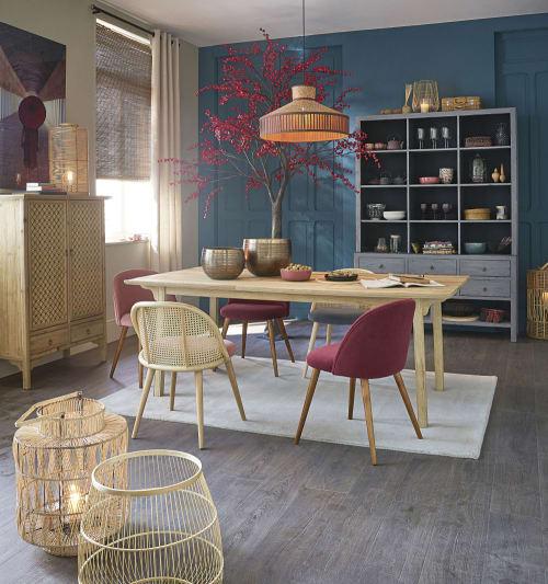 Sedia vintage in velluto blu e legno massello di betulla