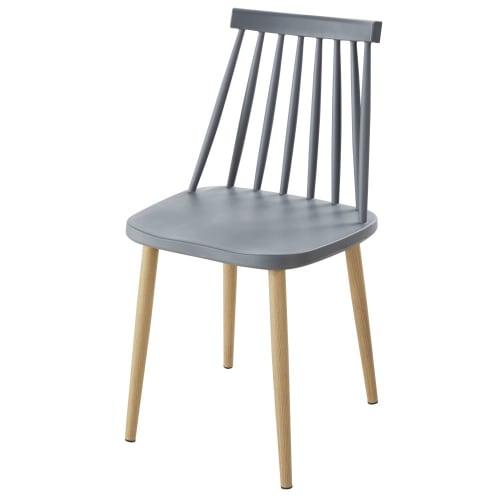 Sedie da giardino professionali in polipropilene grigio e metallo imitazione rovere (x2)