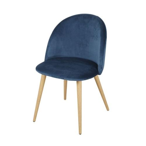 Sedie professionali vintage in velluto blu notte e metallo ...