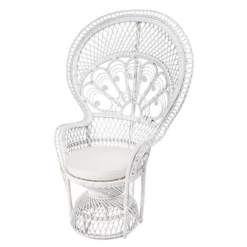 Sessel aus weißem Rattan