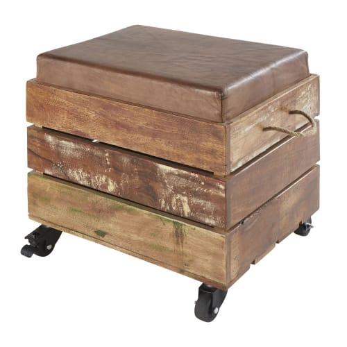 Sgabello con contenitore in legno riciclato e pelle di capra marrone | Maisons du Monde