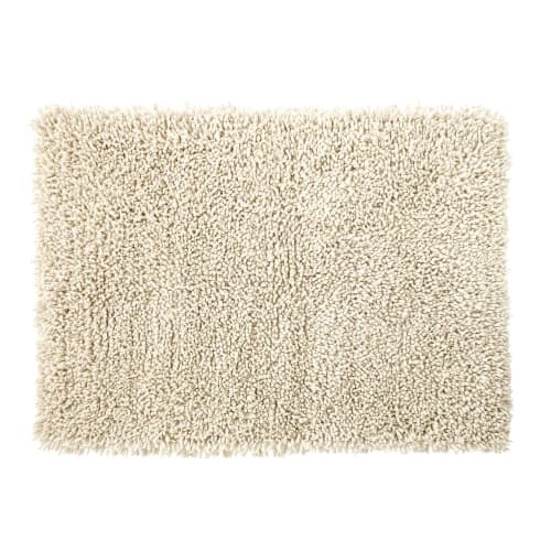Shaggy Wool And Cotton Rug In Ecru 140x200 Maisons Du Monde