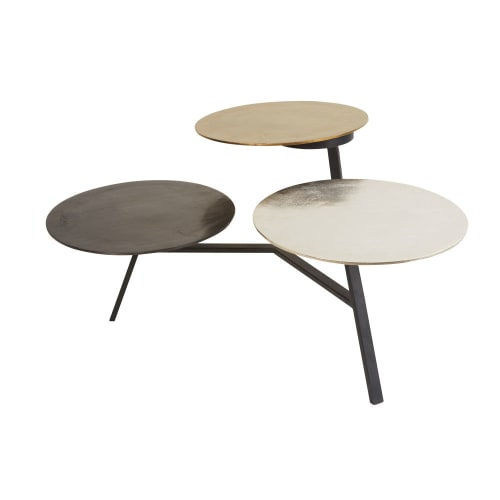 Side Table With 3 Removable Metal Trays