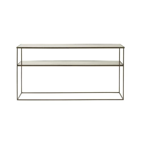 Side Table Van Glas.Sidetable Van Grijs Staal En Gehard Glas Maisons Du Monde