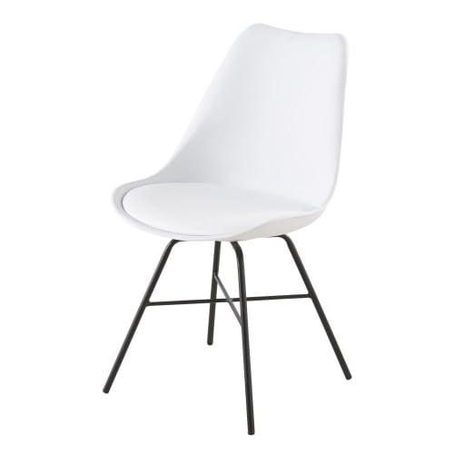 Silla blanca con patas de metal negro   Maisons du Monde