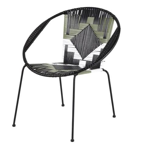 Silla de jardín de resina negra con motivos decorativos gráficos blancos y verdes | Maisons du Monde