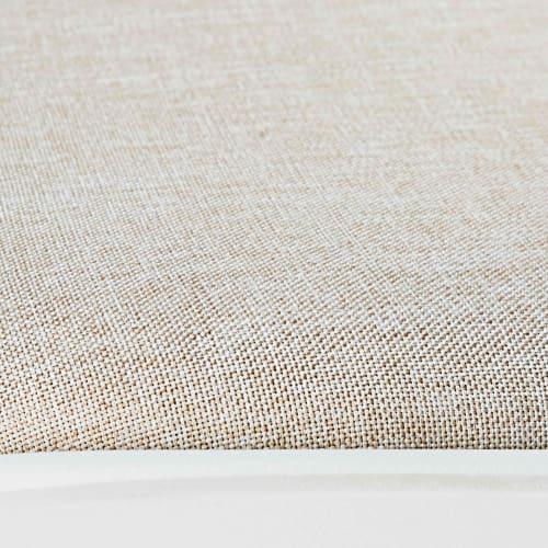 Silla de metal blanco mate y de tela beige   Maisons du Monde
