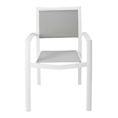 Sillón de jardín de aluminio y tela plastificada blanco y gris claro