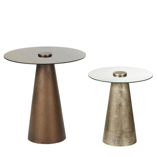 Bronze Metal And Gl Side Tables