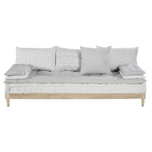 Sitzbank für 2 bis 3 Personen aus grauweißer Baumwolle