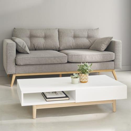 Skandinavisches 3 Sitzer Sofa Hellgrau