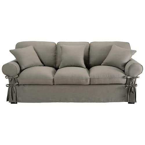 Sofa 3 Sitzer Nicht Ausziehbar Leinen Hellgrau Butterfly
