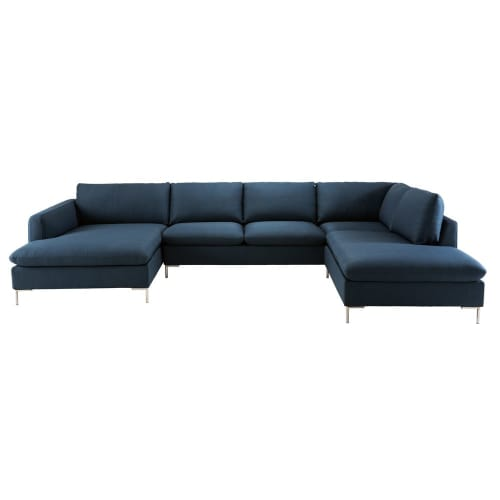 Sofá de canto de 7 lugares de tecido azul-escuro | Maisons ...