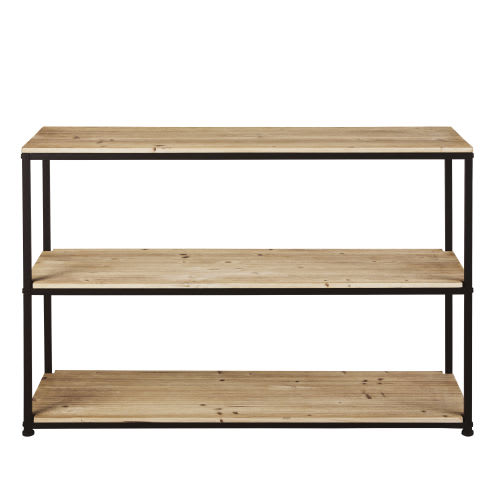 Solid Fir and Black Metal Console