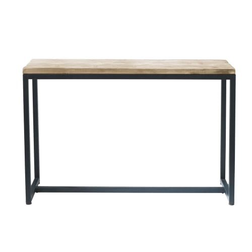 Solid Fir and Metal Console Table in Whitewash Finish  Maisons du Monde