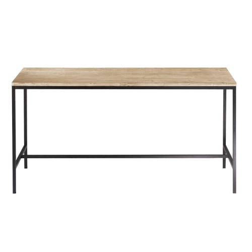 Solid Fir And Metal Industrial Dining Table Long Island Maisons