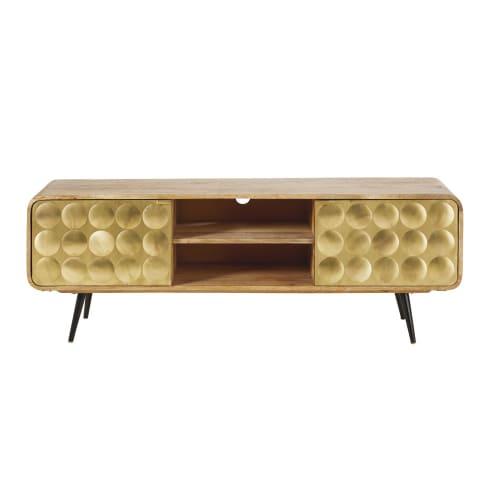 Tv Meubel Vintage.Solid Mango Wood 2 Door Vintage Tv Cabinet Gatsby Maisons Du Monde