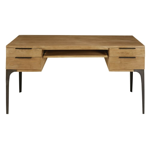 Solid Mango Wood And Acacia 4 Drawer, Mango Wood Desk