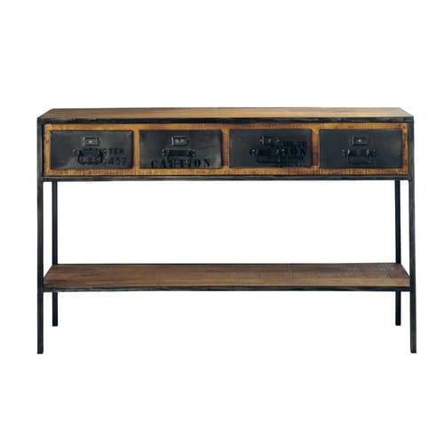 Solid Mango Wood and Black Metal Industrial Console Table