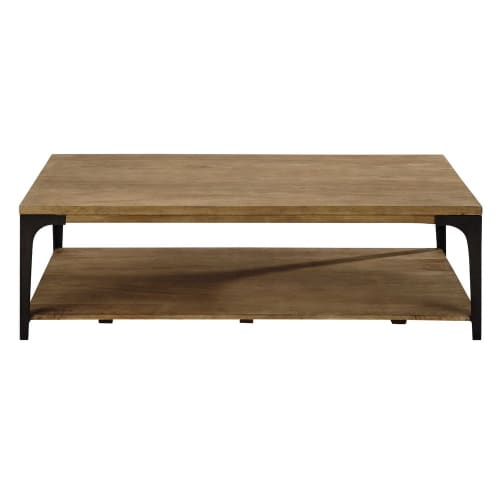 Solid Mango Wood And Metal Coffee Table Metropolis Maisons Du Monde