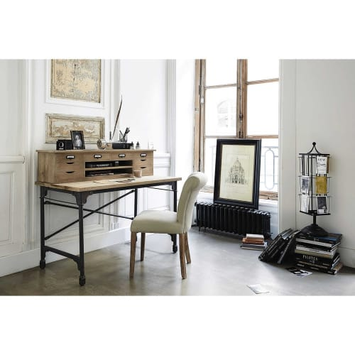 Solid Mango Wood And Metal Writing Desk W 117cm Archibald
