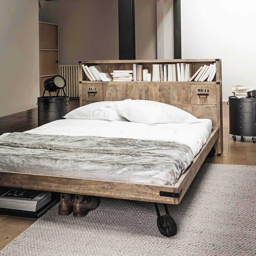 Bed 140 Cm.Solid Mango Wood Headboard With Storage W 140cm