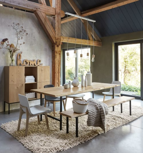 Solid Oak and Black Metal 10-Seater Dining Table  Maisons du Monde