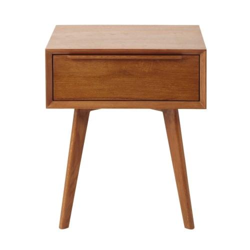 Solid Oak Vintage 1 Drawer Bedside Table Portobello Maisons Du Monde - Antique Small Oak Side Table With Drawer