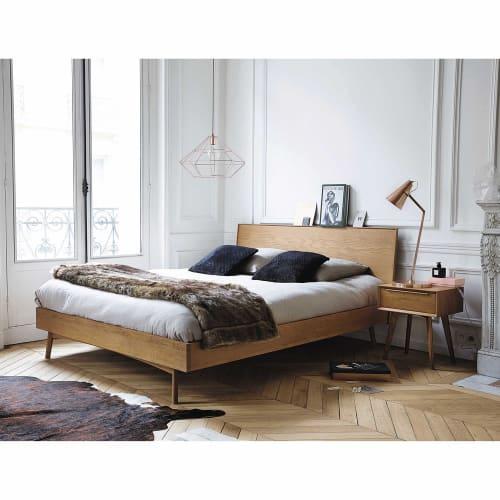 Solid Oak Vintage 160 X 200 Double Bed Portobello Maisons Du Monde