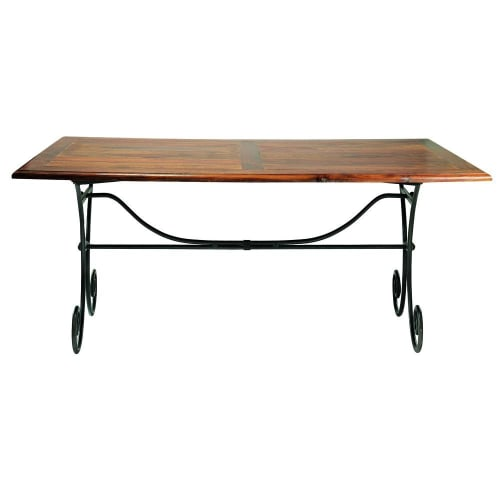 Solid Sheesham Wood And Wrought Iron Dining Table W 180cm Maisons Du Monde