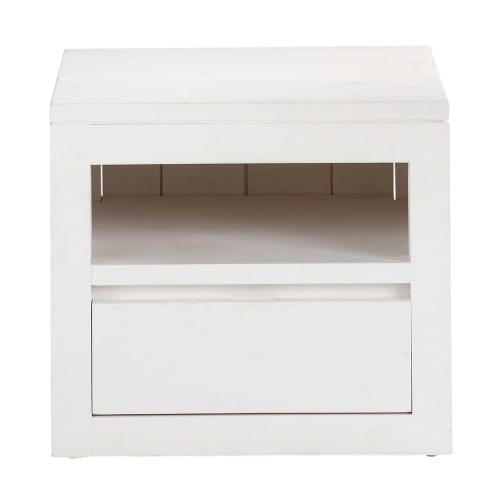 Solid Wood Bedside Table With Drawer In White W 40cm Maisons Du Monde