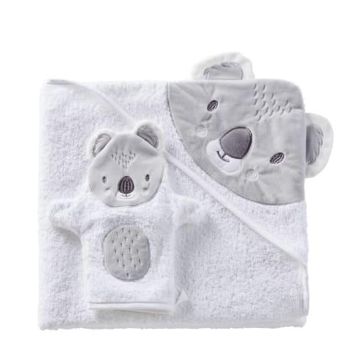Sortie de bain bébé en coton blanc et gris 100x100 | Maisons du Monde