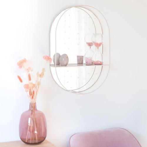 Specchio con mensola in metallo rosa antico, 38x55 cm