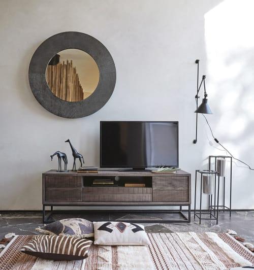 Specchio rotondo in metallo nero, D 104 cm | Maisons du Monde