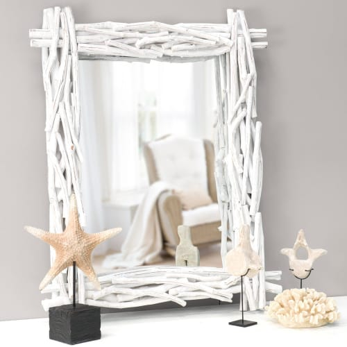 Spiegel aus Ästen, H115, weiß