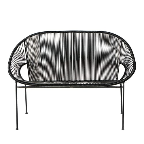 Miraculous Stackable 2 3 Seater Garden Bench In Resin String And Black Metal Beatyapartments Chair Design Images Beatyapartmentscom