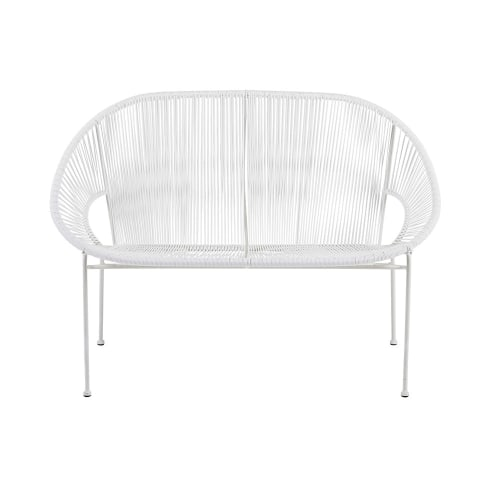 Strange Stackable 2 3 Seater Garden Bench In Resin String And White Metal Beatyapartments Chair Design Images Beatyapartmentscom