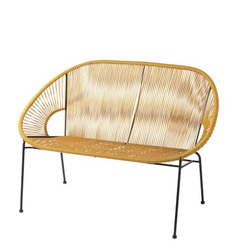 Stapelbare Gartenbank 2 3 Sitzer Aus Senfgelbem Harz Gewebe Und Schwarzem Metall Copacabana Maisons Du Monde