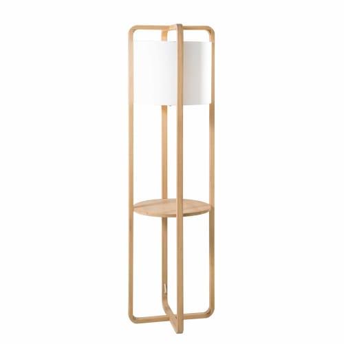 Stehlampe aus Eichenholz mit weißem Lampenschirm H. 155 | Maisons du Monde