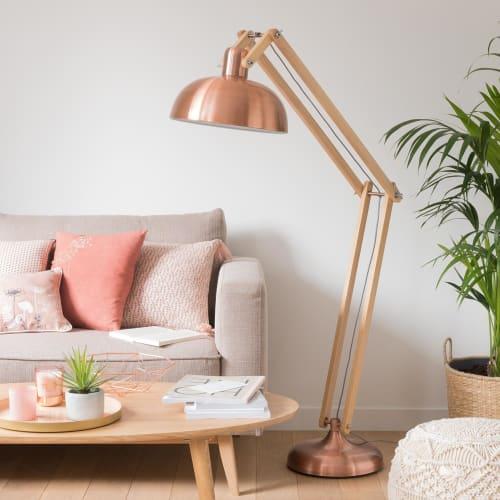 Stehlampe aus Eschenholz mit Lampenschirm aus kupferfarbenem Metall H150